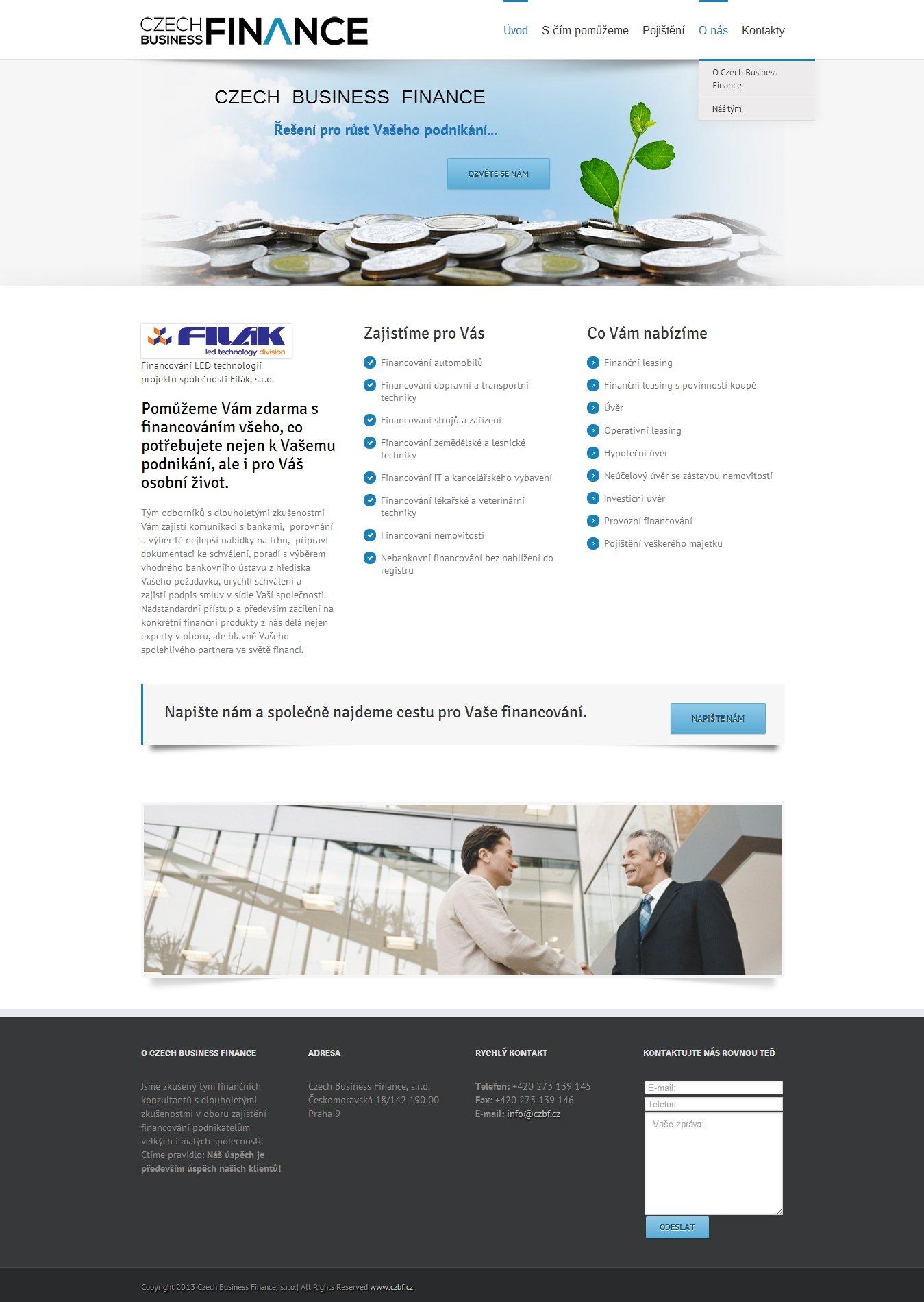 Webové stránky pro Czech Business Finance