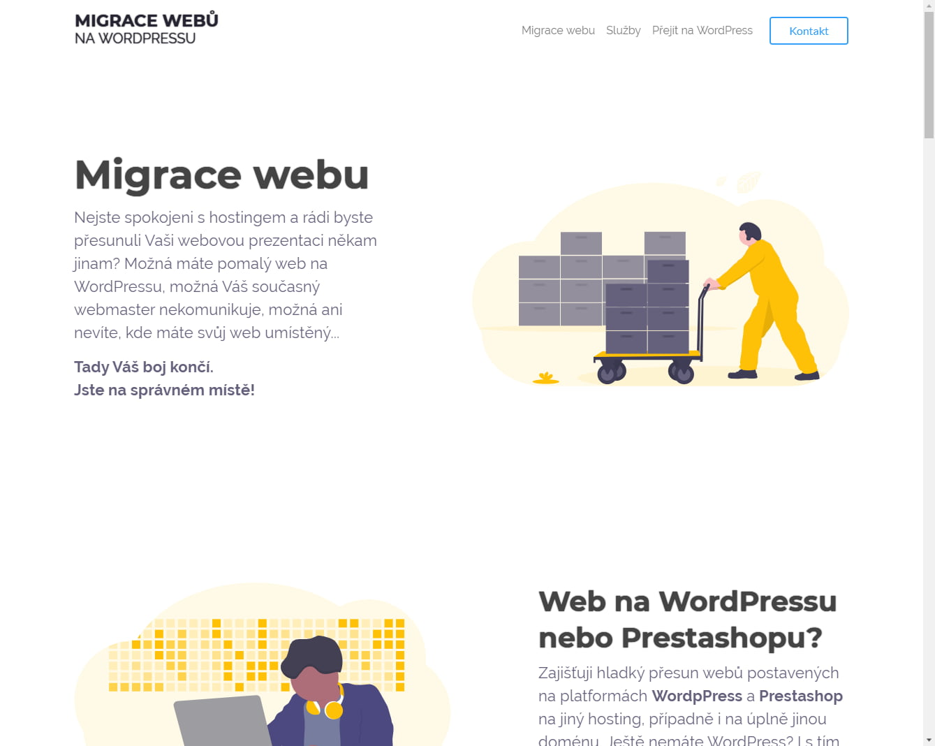 Microsites for migrating websites on WordPress and services