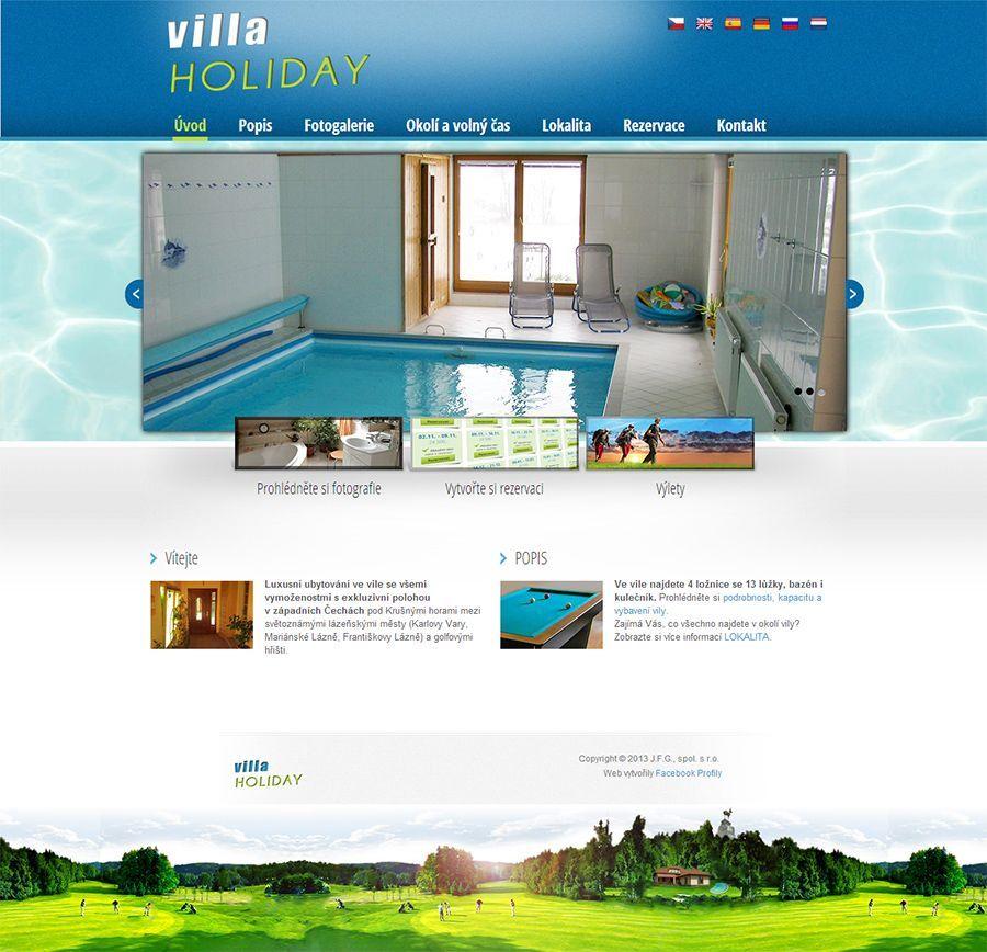 Web pro rezervaci vily Villa Holiday