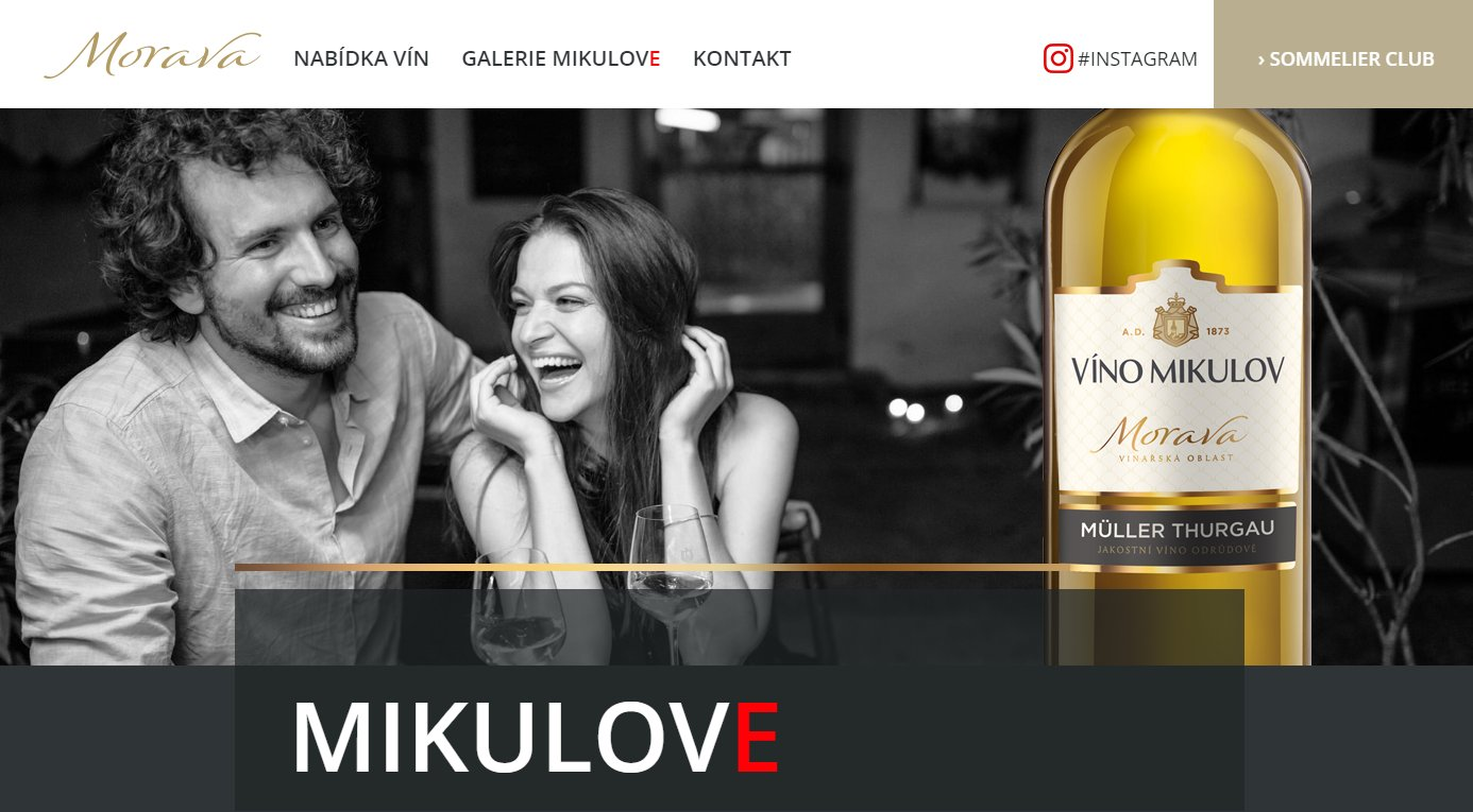 Making website from graphic design for winery Víno Mikulov